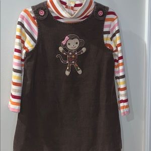Gymboree brown jumper with striped turtleneck